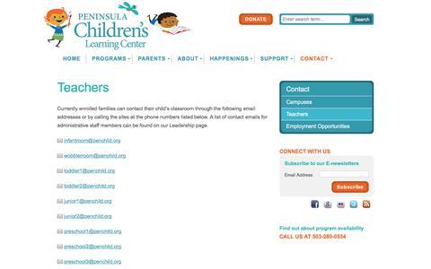 Screenshot of Team Page penchild.org - Teachers   Peninsula Children's Learning Center - captured Jan. 26, 2016