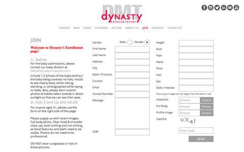 Screenshot of Signup Page dynastymodels.com - Join Us - Dynasty Models and Talent - captured Sept. 22, 2018
