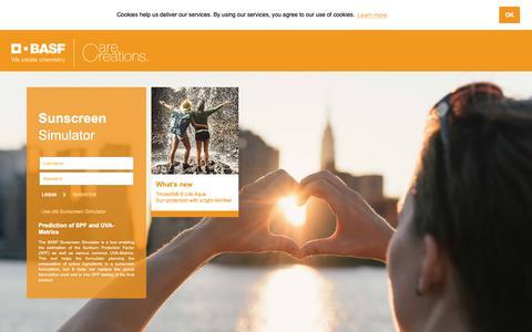 Screenshot of Login Page basf.com - Sunscreen Simulator - captured Nov. 29, 2018