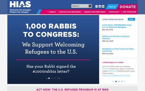 Screenshot of Home Page hias.org - HIAS - Welcome the stranger. Protect the refugee. - captured Dec. 5, 2015