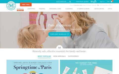Screenshot of Home Page honest.com - The Honest Company - captured March 25, 2016
