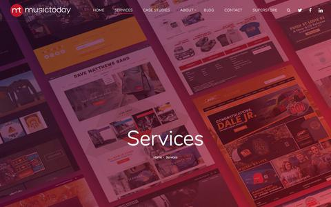 Screenshot of Services Page musictoday.com - Services Available | Musictoday | 360° Ecommerce Solutions - captured Sept. 20, 2018