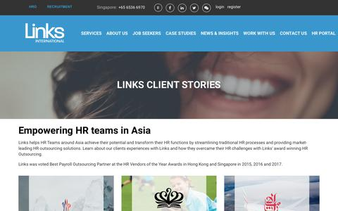 Screenshot of Case Studies Page linksinternational.com - Links' Client Stories - captured July 20, 2018