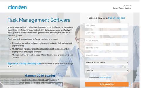 Screenshot of Landing Page clarizen.com - Task Management Software l Clarizen - captured July 25, 2016