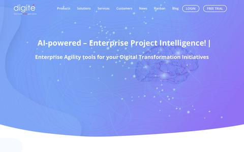 Screenshot of Products Page digite.com - AI-driven Enterprise Agility Platform, SAFe® & Kanban Project Management Software Solutions From Digité - captured Nov. 17, 2018