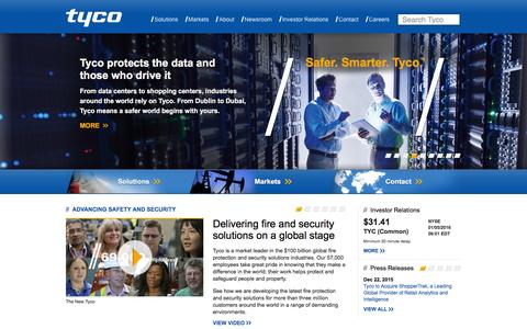 Screenshot of Home Page tyco.com - Home - Advancing safety and security worldwide |  Tyco - captured Jan. 5, 2016