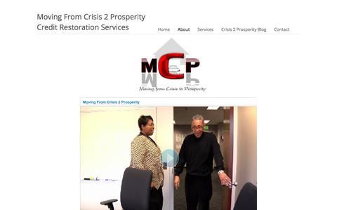Screenshot of About Page fromcrisis2prosperity.com - Moving From Crisis 2 Prosperity : About - captured Feb. 14, 2016
