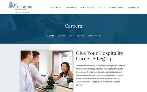 Screenshot of Jobs Page chesapeakehospitality.com - Hospitality Careers | Chesapeake Hospitality - captured July 17, 2018