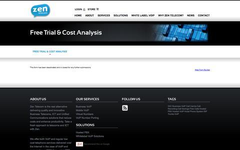 Screenshot of Trial Page zentelecom.ie - Free Trial & Cost Analysis | Zentelecom - captured Sept. 30, 2014