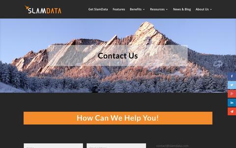 Screenshot of Contact Page slamdata.com - Contact Us | SlamData - captured March 26, 2016