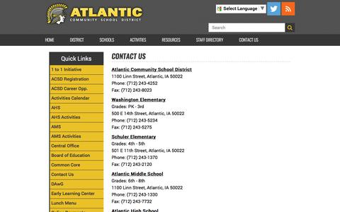 Screenshot of Contact Page atlanticiaschools.org - Contact Us - captured April 27, 2017