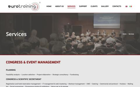 Screenshot of Services Page eurotraining.it - Services – Eurotraining - captured Sept. 29, 2018