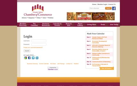 Screenshot of Login Page gschamber.com - Login - Greater Salem Chamber of Commerce - captured Nov. 2, 2014