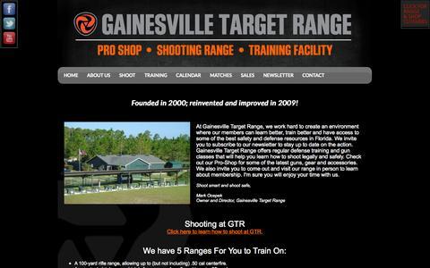 Screenshot of About Page gainesvilletargetrange.com - About Us - captured Sept. 29, 2014