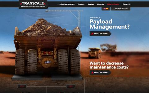 Screenshot of Home Page transcale.com - Transcale | Maximising Payload Opportunities | Payload Management, Mining Truck Scales & Scanning - captured Oct. 9, 2014