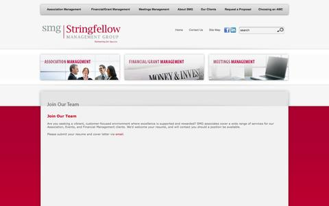 Screenshot of Signup Page stringfellowgroup.net - Stringfellow Management Group (SMG): Join Our Team - captured Feb. 25, 2016