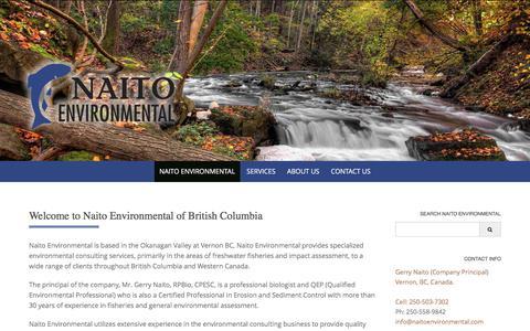 Screenshot of Home Page naitoenvironmental.com - Naito Environmental – Environmental Assessment – Inventory – Habitat Rehabilition and Monitoring - captured Sept. 20, 2018