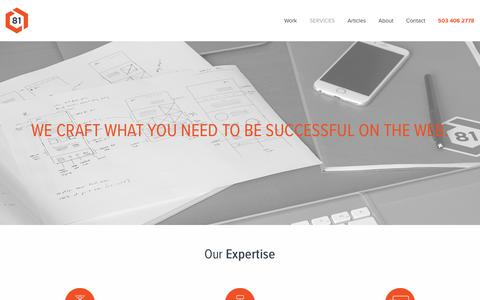 Screenshot of Services Page block81.com - Our Services | Web Design, Branding, Digital Marketing | Block 81, PDX - captured June 1, 2017