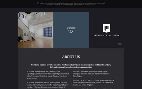 Screenshot of About Page presidentsinstitute.com - About Us - captured Oct. 29, 2014