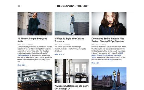 Screenshot of Blog bloglovin.com - Bloglovin'—the Edit - captured Dec. 6, 2015