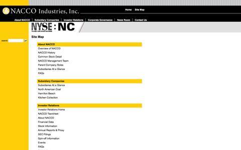 Screenshot of Site Map Page nacco.com - NACCO Industries, Inc. - Site Map - captured Feb. 16, 2016