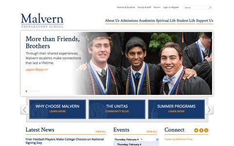 Screenshot of Home Page malvernprep.org - Home - Malvern Prep Home (Copy) - Malvern Preparatory School - captured Feb. 4, 2016