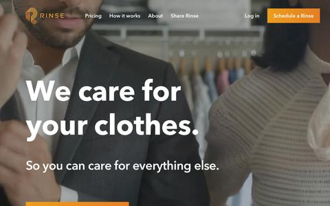 Screenshot of Home Page rinse.com - Rinse - Dry Cleaning and Laundry. Delivered. - captured July 7, 2018
