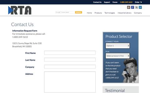 Screenshot of Contact Page rtaautomation.com - Contact Us - Real Time Automation - captured Nov. 5, 2014