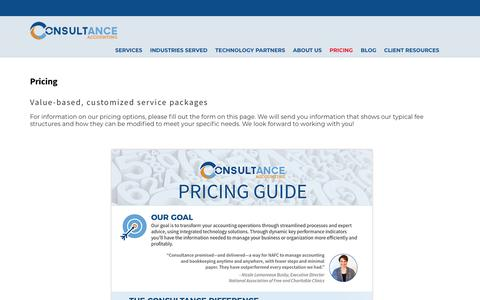 Screenshot of Pricing Page consultancellc.com - Pricing | Consultance Accounting - captured Sept. 29, 2018
