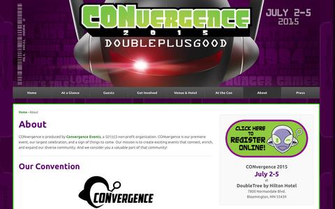Screenshot of About Page convergence-con.org - About | CONvergence Convention - captured Sept. 19, 2014