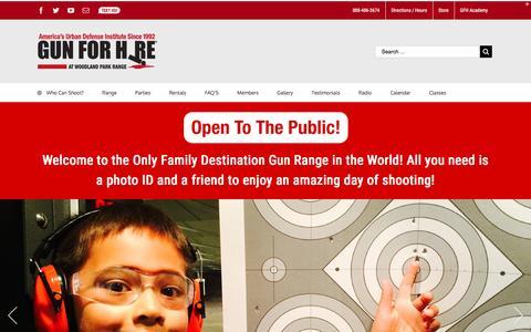 Screenshot of Home Page gunforhire.com - 6 Star Shooting Range in NJ   Gun For Hire - captured Nov. 16, 2016