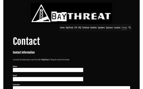 Screenshot of Contact Page baythreat.org - Contact | BayThreat - A Hacker Conference - captured Nov. 6, 2018