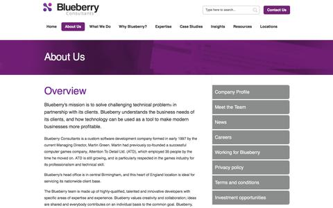Screenshot of About Page bbconsult.co.uk - Custom Software Development UK   About Blueberry Consultants - captured Oct. 10, 2017