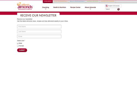 Screenshot of Signup Page almonds.com - Receive our newsletter   Almond Board of California - captured Sept. 23, 2014