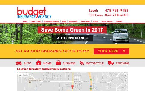 Screenshot of Locations Page budgetautoquote.com - Budget Insurance Agency Locations and Driving Directions - captured Oct. 11, 2017