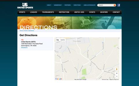 Screenshot of Maps & Directions Page unitedsports.net - Directions - United Sports - captured June 11, 2017