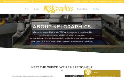 Screenshot of About Page kelgraphics.com - About Kelgraphics - Custom Apparel, Signage, Banners & More - captured Sept. 20, 2018