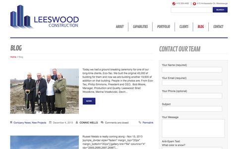 Screenshot of Blog leeswood.ca - Blog » LEESWOOD CONSTRUCTION - captured Oct. 2, 2014