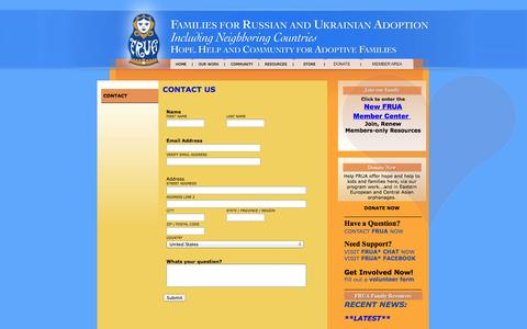 Screenshot of Contact Page frua.org - Contact - captured Sept. 30, 2014