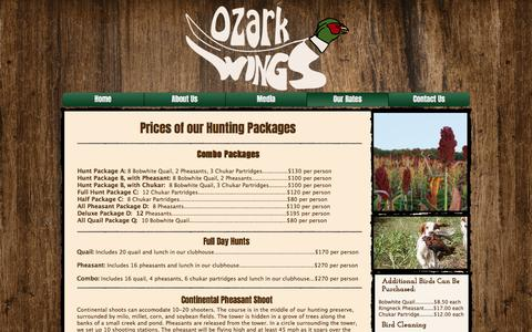 Screenshot of Pricing Page ozarkwings.com - Ozark Wings Hunting Preserve | Quail and Pheasant Hunting Prices - captured June 18, 2017