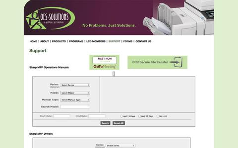 Screenshot of Support Page oes-solutions.com - OES Solutions - captured Oct. 7, 2014