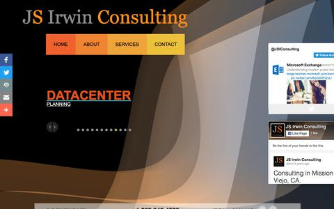Screenshot of Home Page jsirwinconsulting.com - JS Irwin Consulting-IT, Project Management, Infrastructure Services, ILM, Security, Disaster Recovery, Training, Unified Communications, Integration Services, Managed Services, Cloud, Mobile, Storage, Outsourcing, Data Center-http://www.jsirwinconsul - captured Sept. 20, 2018
