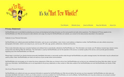 Screenshot of Privacy Page harttewwhistles.com - Whistle loudly with the original whistle - captured Dec. 7, 2015