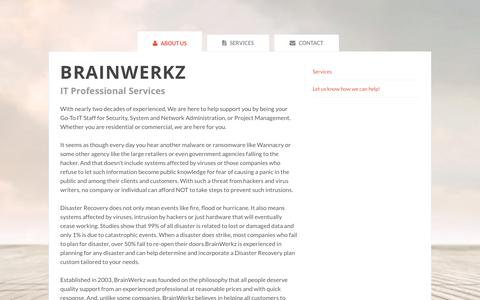 Screenshot of Home Page corevantagesolutions.com - BrainWerkz - IT Professional Services - captured July 22, 2018