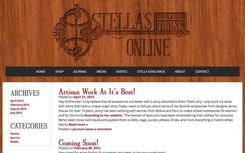 Screenshot of Press Page stellastrunk.com - News | Stella's Trunk | Unique luxury gift items from around the world - captured Sept. 30, 2014