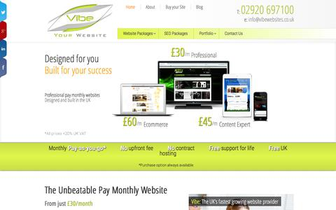 Screenshot of Home Page vibewebsites.co.uk - Pay Monthly Websites - Professional CMS Ecommerce Web Design - captured Jan. 27, 2015