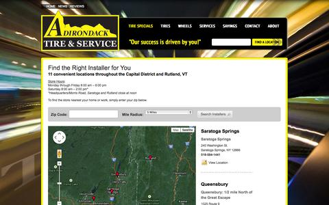 Screenshot of Contact Page Maps & Directions Page adirondacktire.com - Tire Stores in Clifton Park, NY & Schenectady, NY | Adirondack Tire - captured Oct. 23, 2014
