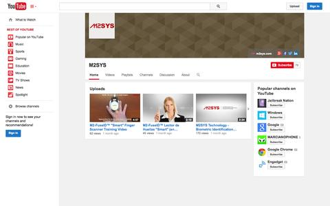 Screenshot of YouTube Page youtube.com - M2SYS  - YouTube - captured Oct. 23, 2014