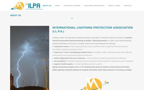 Screenshot of About Page intlpa.org - Presentation of The International Lightning Protection Association - captured Oct. 12, 2018