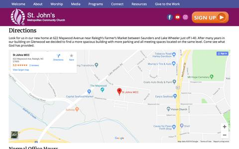 Screenshot of About Page Maps & Directions Page stjohnsmcc.org - Directions - St. John's MCC - captured Oct. 26, 2018